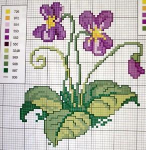 Схеми квітів для вишивки хрестиком В кольорі і з умовними ... d7f41a3bed404